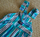 Vintage Boys OSHKOSH BGOSH Shorts Overalls 3T 90s Striped Teal Bib Denim Jean