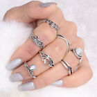 7pcs Vintage Boho Finger Knuckle Ring Band Pearl Midi Rings Stacking Ring hot