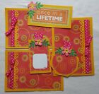 Sewn scrapbook mats 6 Pcs Page Kit Summer Fun Once in a Lifetime flowers