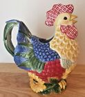 Fitz And Floyd Just Us Chicks Ceramic Rooster Pitcher
