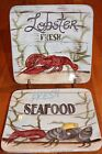 2 Certified International Kate McRostie Fisherman's catch square plates Lobster