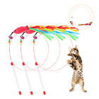 Funny Cat Kitten Pet Teaser Fish Ribbon Wire Chaser Pet Toy Wand Beads Play