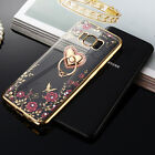 With Bling Ring stand Ultra thin flower Clear Case cover for Samsung S6 S7 S8+
