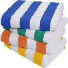 Beach Pool solid Towel Cabana Stripe 4 pc pack 30x60 inches by Utopia Towel