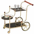 ACME Lacy Glass Serving Cart in Gold and Black