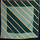 Vintage Large Abstract Striped VERA NEUMANN Scarf Teal Tan Blue Retro Square