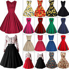 US 50 60S ROCKABILLY DRESS Vintage Swing Pinup Retro Housewife Prom Party Dress