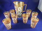VINTAGE PEACH LUSTRE PITCHER AND 8 GLASSES, FLORAL DESIGN ALL GOOD
