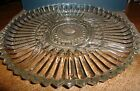 VTG. GLASS DIVIDED RELISH/VEGETABLE PLATTER 12 INCHES, CENTER RIM FOR DIP BOWL