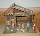 Vintage Nativity Set Figures w Stable Christmas Nativity Pieces Made In Italy