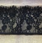 3 Yards Black Floral Embroidered Eyelash Mesh Lace Trim 6.5 inches Wide