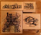 Stampin Up HAUNTED HOUSE Rubber Stamp Set Bats Moon Gravestone HALLOWEEN
