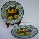 2 Raymond Waites Studio Certified International Dinner Plate Fruit Brown Basket