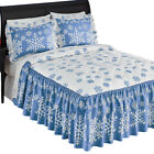 Blue And White Winter Snowflake Bedspread by Collections Etc