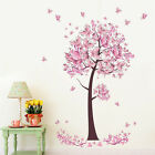 Warm Pink Butterfly Tree Flowers Decal Room Wall Sticker Vinyl Art Hot DIY Decor