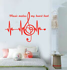 Vinyl Wall Decal Music Notes Quote Heart Pulse Heartbeat Stickers 1439ig