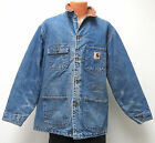 vtg Carhartt BLUE DENIM Barn Coat LARGE Blanket Lined C59 jean chore usa 2003 L