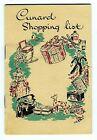 Cunard Lines On Board Ships At Sea  Shopping List Booklet 1950's