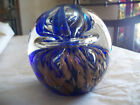 Vintage Art Glass Paperweight, Blue and Gold Bubble Art, Large