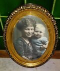 Antique Picture Photo Mother  Child Gold Oval Wood Frame