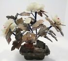 VINTAGE CHINESE GLASS JADE BONSAI TREE ORIENTAL HANDMADE WHITE FLOWERS