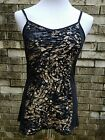 MAURICES Juniors Size L Black Tank Top w Crinkle Animal Print On Front
