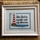 """Vvintage Completed Needlepoint """" The Lord is my Light and My Salvation"""