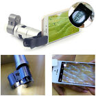 Clip-on 200X Optical Zoom HD Microscope Camera Lens+LED Light For iPhone Samsung