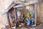 Vintage Creche Nativity Rustic Stable  10 Traditional Figures Beautiful Colors
