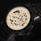 New Men's Boy Skeleton Mechanical Watch Wrist Watches Stainless Steel Band Gift