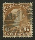 Canada 1868 Large Queen 6c yellow brown #27a fancy cork cancel