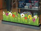 Wild Grass with Flowers and Insects Spring Summer Window Border Cling Sticker