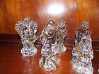 GLASS 7 pc Nativity Set with Gold Details Figurine