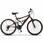 26 Mountain Bike 18 Speed Bicycle Full Suspension Aluminum Frame Sports Marroon