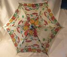 ADORABLE VINTAGE 1950s DOG CAT BAND RAYON UMBRELLA WOODEN HANDLE DOLL CHILD 24