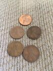 Lot Of 5 Wheat Pennies