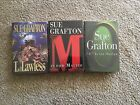 3 signed Sue Grafton 1st Ed HB L is for Lawless M is for Malice O is for Outlaw