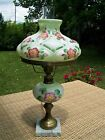 Antique Pale Green Milk Glass Hand Painted Hurricane Parlor Lamp GWTW Works WOW
