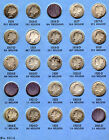 1916 to 1945 Mercury Head Dime Collection 67 Coins in Whitman Album