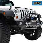 07 18 Jeep Wrangler JK Black Front Bumper With 4 LED Lights  Winch Plate