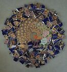 GOLDEN CHINESE PEACOCKS ON ROYAL BLUE MOSAIC TILES ASIAN BIRDS FLORAL