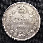 STRONG DETAILS CANADA 1910 SILVER 5 CENTS