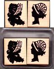 2 Wd Mtd Rubber Stamps VICTORIAN LADIES SILHOUETTES Plastic Case NEW FREE SHIP