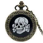 Vintage Flower Four Skulls Bone Boy Men Quartz Pocket Watch Xmas Gift for Kids
