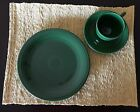 ANTIQUE ORIGINAL DARK GREEN FIESTA PLATE with CUP & SAUCER by HOMER LAUGHLIN HLC