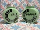 Jadeite Round Art Deco Blk Letter Salt and Pepper Shakers in Excellent Condition