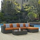Modway Sunbrella 5 Piece Patio Sectional Set in Canvas and Tuscan