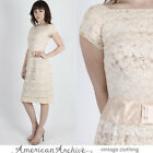 Vintage 50s Floral Lace Dress Wedding Cocktail Party Pinup Wiggle Cream Mini S