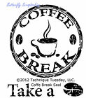 COFFEE SEAL Small Stamp Set Clear Unmounted Rubber Stamps TECHNIQUE TUESDAY New