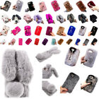 Cute Bunny Warm Fluffy Rabbit Fur TPU Soft Case For iPhone 5C 5S SE 6 6S 7Plus X